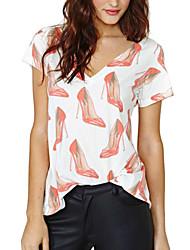 Women's Print White T-shirt , Casual/Print V Neck Short Sleeve