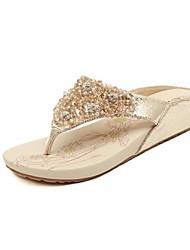 кожаных женщин плоские пятки флип-флоп тапочки с горный хрусталь обувь (больше цветов)