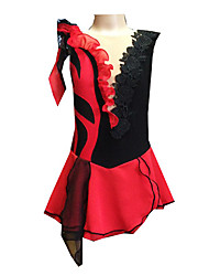 Girl's Black and Red Spandex Chiffon Figure Skating Dress(Assorted Size)