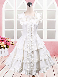 Elegância sem mangas na altura do joelho da frente abotoado algodão branco clássico Lolita Vestido