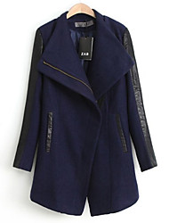 YINBO Elegant Splicing Fitted Fashion Leather Coat