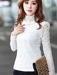 Women's Lace White/Black Blouse , Stand Long Sleeve Lace