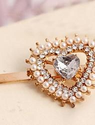 Del corazón del melocotón de Corea del Rhinestone de la perla de oro Rana Barrettes Clip
