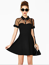 2015 New Fashion Summer Sexy Vestidos Mesh Patchwork Short Sleeve Women Casual Novelty Dress Party Dresses
