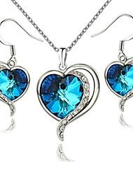 18k or blanc au coeur de l'océan autrichien cristal bleu collier pendentif boucles d'oreilles