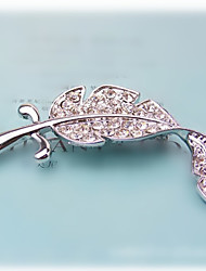 Lucky Doll Women's Leaf Pattern Diamonade Brooch