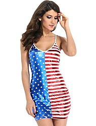do querido-lover®women u-pescoço da bandeira americana do vintage mostra colete fino mini vestido