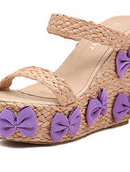 IPIEN Bowknot Grass-Weaving Leisure Slipsole Sandal (Purple)