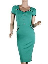 Women's Solid Black/Green Dress , Vintage/Sexy/Bodycon/Casual/Party/Work/Plus Sizes Sweetheart Short Sleeve