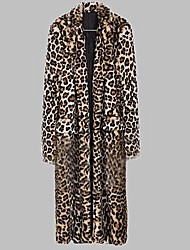 Women's Coat,Leopard Long Sleeve Fall / Winter Others Thick