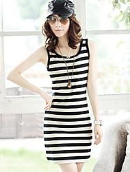 MEROKETTY®Women's Round Collar Stripe Fit Sleeveless Jumper Skirt