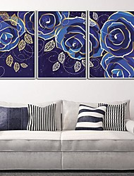 Blue Rose Framed Canvas Juego de 3