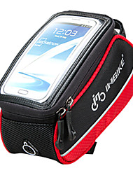 INBIKE 5.5 Inch Polyester and EVA Black and Red Bicycle Front Bag With Transparent PVC Touchable Mobile Phone Screen