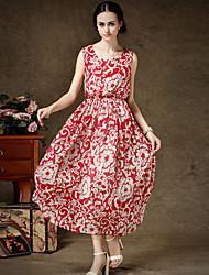 s-ray-Rundhalsausschnitt Blumendruck Chiffon-Kleid der Frauen
