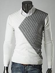 ronde mode de cou de couleur de charme mince cardigan casual manches longues tricot o de lesen hommes