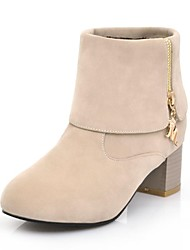 Women's Shoes Round Toe Chunky Heel Ankle Boots with Zipper More Colors available