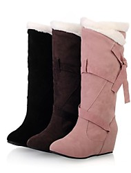 Women's Fall Winter Snow Boots Suede Dress Wedge Heel Lace-up Black Brown Pink