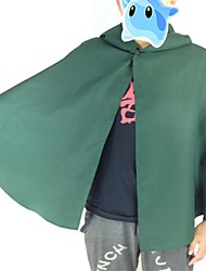 Inspiré par Attack on Titan Levy Anime Costumes de cosplay Costumes Cosplay Mosaïque Vert Manche Longues Cape