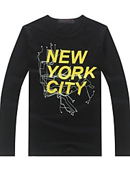 Men's Fashion Printing Round Collar Long Sleeve T-Shirts
