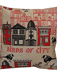Birds of City Cotton/Linen Decorative Pillow Cover