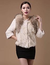 Lã Genuine casaco de pele de Zijindiao ® Mulheres com Raccoon Fur Collar