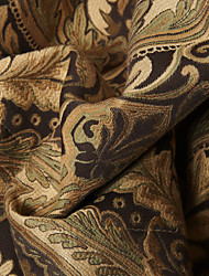 "European,Neoclassical Chocolate Floral / Botanical Polyester Jacquard Fabric (Fabric Weight-Medium) - Width=110"" (280 cm)"