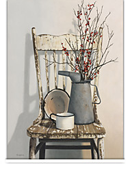 Retro Country Style Chair And Flower Roller Shade