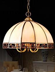 Colgante de cobre amarillo de la lámpara, Cinco Luces, Tiffany total Cobre Cristal (P180062)