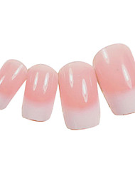 24PCS White Gradients Design Pink Nail Art Tips With Glue