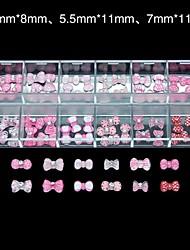 60pcs 12 conception aléatoire résine acrylique noeud papillon ens_2 art de la décoration des ongles