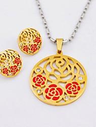 Bella Rosa Titanio acciaio placcato oro collane e orecchini Gioielli Set