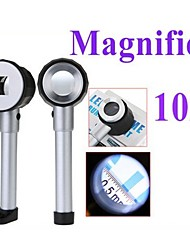25mm Handheld 10X Magnifier with 3-LED White Light and Graduation (2 x AA)