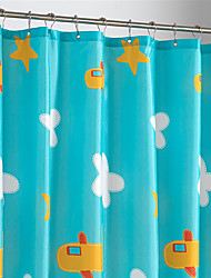 Cute Cartoon Clouds And Airplane Shower Curtain
