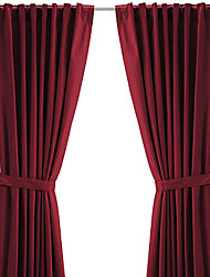 TWOPAGES® (One Panel Back Tap Top) Modern Minimalist Burgundy Solid Energy Saving Curtain