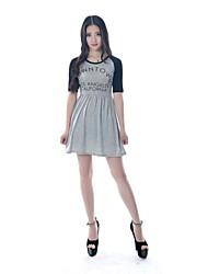 haoduoyi ® Preppy Estilo Feminino Light Gray Alphabet Imprimir Malhas Vestido