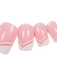 24PCS White V-neck Design Pink Nail Art French Tips With Glue
