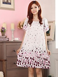 Women's Loose Flower Balloon Print Sleepwear Nightdress AS018