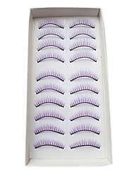 10Pairs European Natural Looking Handmade Purple Thicker Crossed High-grade Chemical Fiber False Eyelashes