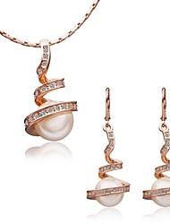 Women's 18K Rose Gold Annulus Pearl Green Crystal (Necklace&Earrings) Jewelry Sets
