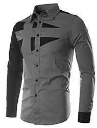 Jogal Wing Korean Style Contrast Shirt Collar Color Long Sleeve Silm Shirts (Gray)