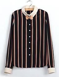 Camisa (Raso) Vintage/Casual/Para Trabajo - Regular - Fino de Manga Larga