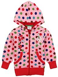 crianças casacos de moda com o hoodie polka dots globais imprimir floral bordado manga longa meninas casacos de impressão aleatória