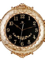 """22 """"H elegante padrão de mármore em relevo floral Polyresin Relógio de parede"""