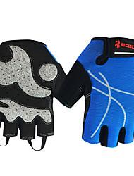 boodun luz azul de malha respirável dedo curto luvas de ciclismo das mulheres