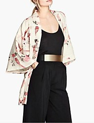 Women's Vintage Coat,Floral ¾ Sleeve Spring / Summer / Fall Polyester Thin