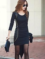 cuello más el vestido redondo de la mujer, otros de mini manga larga