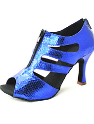Customizable Women's Dance Shoes Latin Leatherette Customized Heel Black/Blue/Red/Silver/Gold