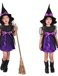 Cute Witch Purple Cape Kid Halloween Costume