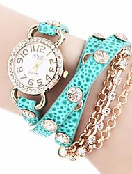 mulan PU cuir femmes habillent la montre avec strass-128 (bleu clair)