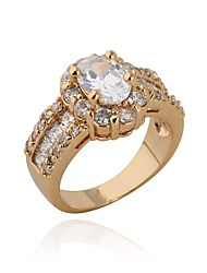Women's High Quality Classic 18K  Gold Plated Zircon Wedding Rings